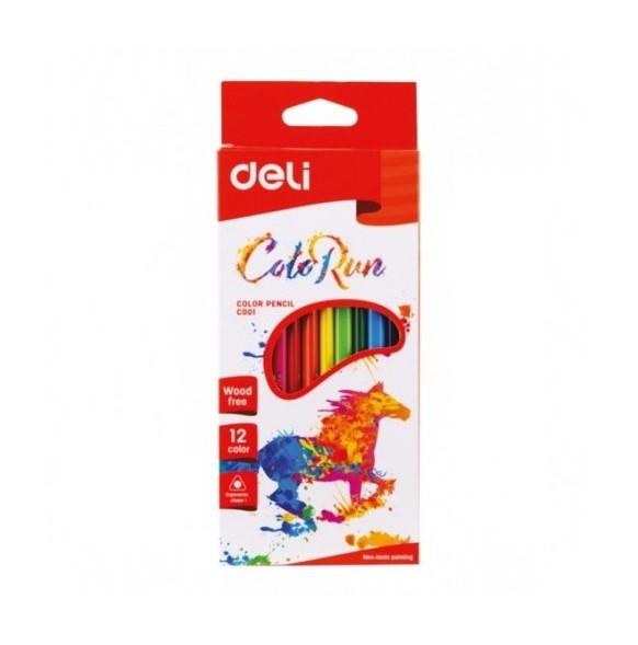 Цветни моливи Deli, 12 цвята
