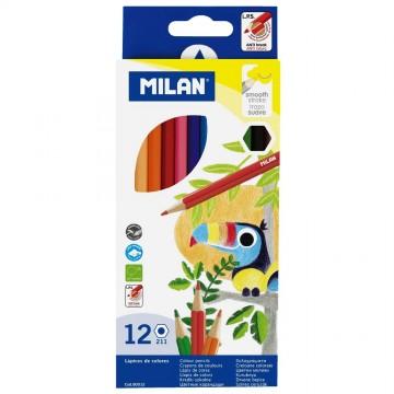 Цветни моливи Milan, шестоъгълни, 12 цвята