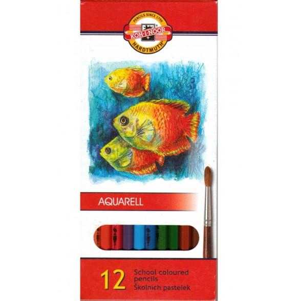 Цветни моливи KOH-I-NOR Акварел 12 цвята