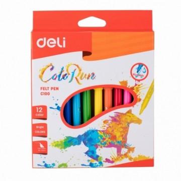 Флумастери Deli ColorRun -12 цвята
