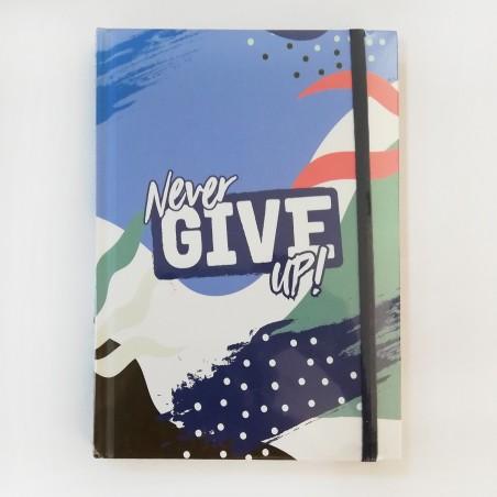 Тефтер с ластик Never Give Up, 96 листа, тв. корица