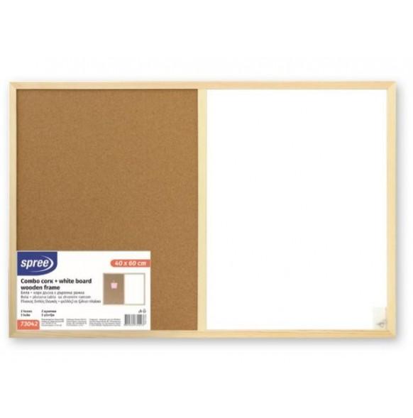Бяла + корк дъска с дървена рамка 40х60 см