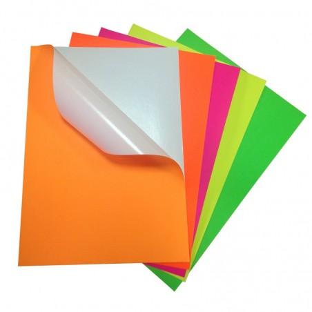 Самозалепваща хартия А4, неон, 20л.