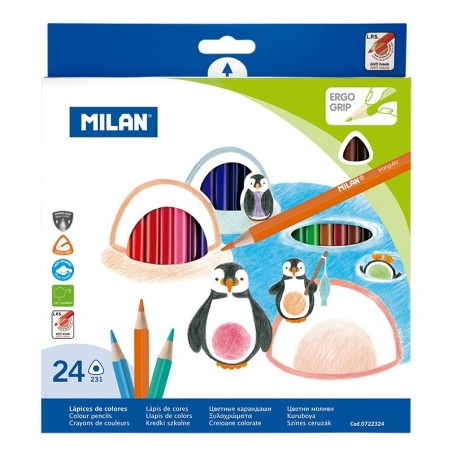 Цветни моливи Milan, шестоъгълни, 24 цв.