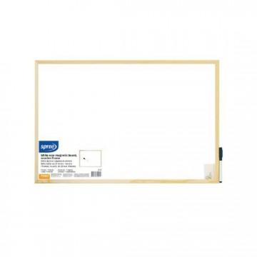 Бяла дъска с дървена рамка 30х40 см