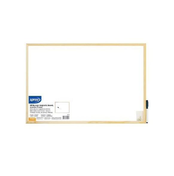 Бяла дъска с дървена рамка Spree 30х40 см