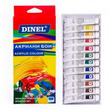 Акрилни бои Dinel, 12 цвята