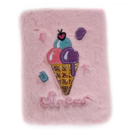 Розов тефтер с плюш и брокат Сладолед, А5, 80 листа