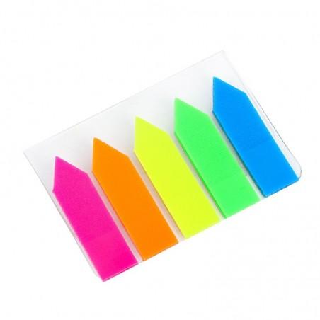 Лепящи индекси стрелки, неон 5 цвята x 25 л.