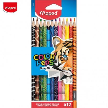 Цветни моливи Maped Зоо, 12 цвята