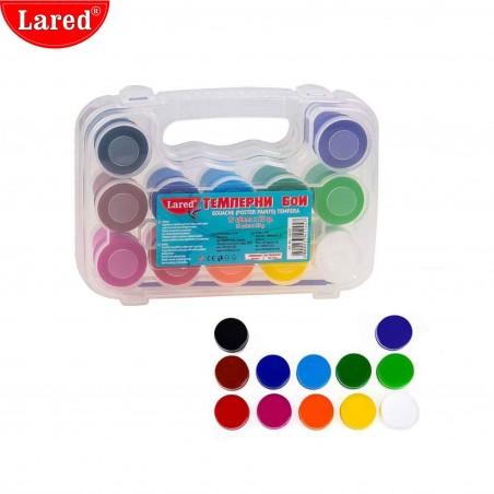 Темперни бои 12 цвята + четка за рисуване, Lared