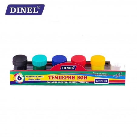 Темперни бои в бурканче, 6 цвята, Dinel