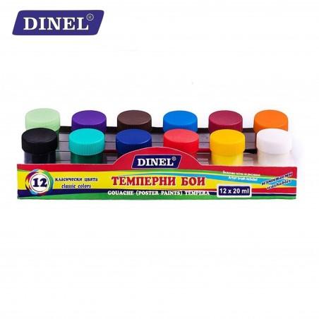 Темперни бои в бурканче, 12 цвята, Dinel