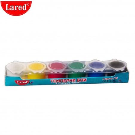 Темперни бои Lared, 6 цвята в бурканче