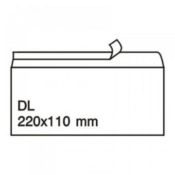 Плик DL, 110х220, бял с лента