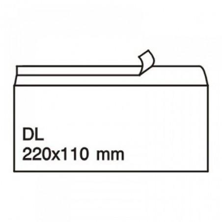 Плик DL, 110 х 220, бял с лента