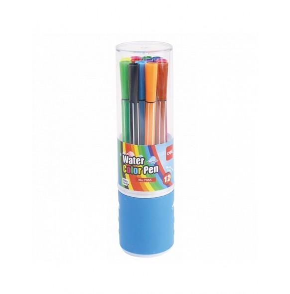 Флумастери Deli Color, 12 цвята